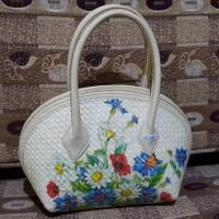 Jual Hand bag anyaman pandan decoupage ukuran kecil Murah