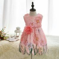 Jual Dress Spring Flower Blossom Rose Peach Pink Free Belt Murah