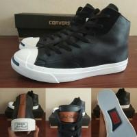 Sepatu Converse CT Jack Purcell Kulit Leather Black White Hitam High