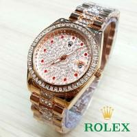 Jual kcb - RLX06RG Jam Tangan Cwk Rolex Full Diamond Ruby ROSE GOLD Murah