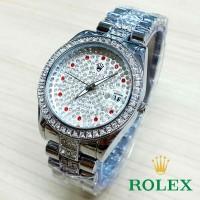 Jual kcb - RLX06FS Jam Tangan Cwk Rolex Full Diamond Ruby FULL SILVER Murah