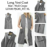 [long vest coat grey RO] vest wanita woll crepe abu abu