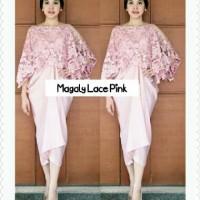 [magaly lace pink RO] dress wanita brukat pink
