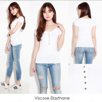 Baju branded original Putih White Blouse xs s m kecil polos kaos cewek