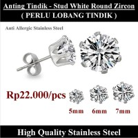 Anting Tindik Cowok Pria - Stud White Round Zircon