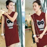 Jual [Dress Owl Maroon LT] Dress wanita babyterry Maroon Murah