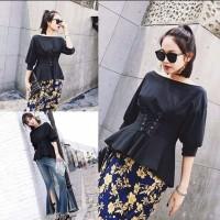 Jual Eyelets Sabrina T-Shirt Blouse Kaos Atasan Wanita BL103 Grosir Murah