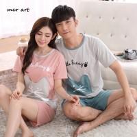 Jual Baju Tidur Setelan Piyama Cowok Cewek Lucu Kaos Set Couple Cute Pocky Murah