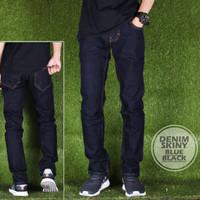 Jual Celana Panjang Cowok Denim Skinny Blue Black Premium Murah