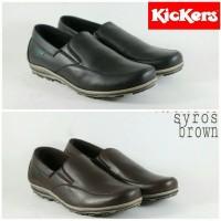 Jual Sepatu Slip on Pria Kickers Casual Kulit asli Hitam Coklat Brown Murah Murah