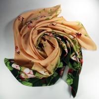 Jual Kerudung Segiempat Motif Choco Peach Blooms / Hijab / Jilbab / Square Murah
