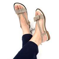Jual Termurah Sandal Flat Wanita Pita Suede Ankle-Strap MD06 Abu Murah