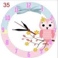 #35 Jam Dinding Anak Lucu Unik Souvenir Motif Kartun Pink Burung Hantu