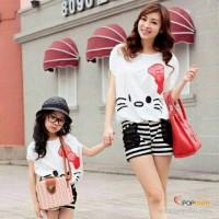 Jual setelan / dress couple ibu dan anak HK ribbon + celana strip Murah