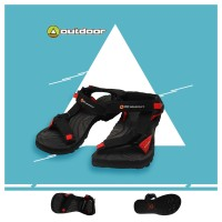 Sandal Outdoor Gladian Hitam Strip Hitam - Sendal Gunung Kece Trendy