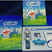 Jual Paket Super Hemat Powerbank Tongsis DORAEMON isi 5 ALL PINK Lucu + Bag Murah