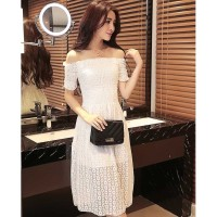 1547 - shoulder less or no model simple korean dress