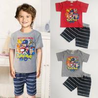 Jual PROMO Setelan Baju Anak Cowok Golden Boy Pokemon Go (2-7 tahun) Murah