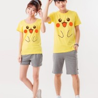 Jual HV5942 Kaos Couple SHY PIKACHU cute pokemon lucu fac KODE BIS5996 Murah