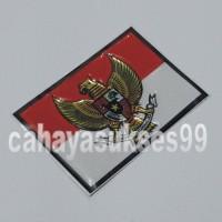 Jual Sticker MOBIL Timbul Bendera Merah Putih Garuda Segi 4 Stiker Emblem Murah