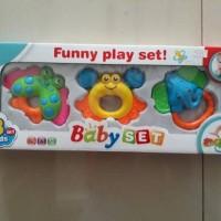 Jual Mainan Gigitan Bayi Baby Rattle Funny Play Set Isi 3 Pcs Murah