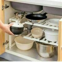Kitchen Rack Portable Stainles Rak Dapur Untuk Panci Sepatu 2 Susun