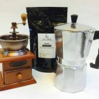 Jual Paket Coffee Grinder Wood, Mokapot 4cups & Kopi Lintong Ori 100gr. Murah