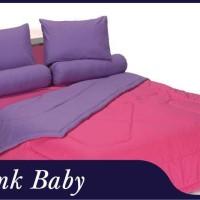 Jual bed caver sheet 2 in 1 warna pink baby uk.120x200 Murah