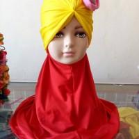 Jilbab Instan Anak Dengan Turban Bunga Cantik