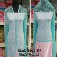 Brokat Brukat Bahan Kain Kebaya Dress Gaun Gamis Couple Biru Mint P7