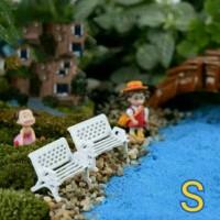 Miniature kursi miniature bangku Hiasan terrarium dekorasi taman