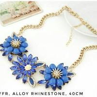Jual Kalung Gemstone Bunga Rhinestone Murah