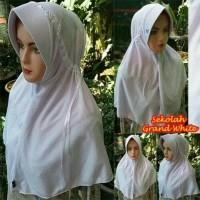 Jual Jilbab Instan Serut Kerudung Sekolah Grand White Serut Renda Pita Murah
