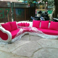 sofa minimalis love pink terbaru kursi L sudut model baru