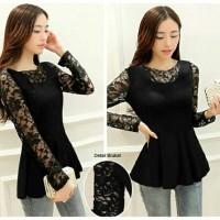 Jual sely blouse brokat hitam trendy Murah