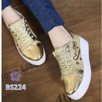 Sepatu Sneakers Platform Wanita Glitter Purva Love Gold. Silver. Hitam
