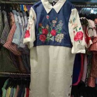 Jual AGS 24 Pakaian Dress katun denim brokat import Code 27 Murah