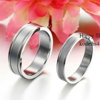 cincin couple silver garis polos tunangan anti karat,free ukir