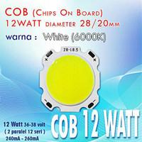 LED COB 12 Watt WhitePutih High Power LED 28/20 mm