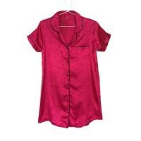 Sleepshirt Daster Mewah Hot Pink Satin Baju Tidur Piyama Cewek SSR4