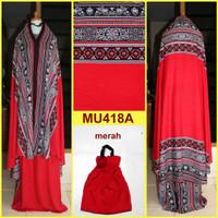 Jual Mukena Bali Songket Dewasa & Remaja Semi Jumbo - MU418A (Merah) Murah