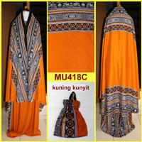 Jual Mukena Bali Songket Dewasa-Remaja Semi Jumbo - MU418C (Kuning Kunyit) Murah