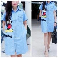 Jual [dress mickey sabrina RO] dress wanita denim biru muda Murah