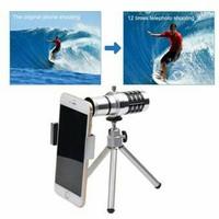 Jual BEST SELLER Lensa Telezoom 12x Mobile Phone Universal + Tripod dan Jep Murah