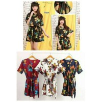 jumpsuit kimono flowers big flora motif bunga besar satin maxmara