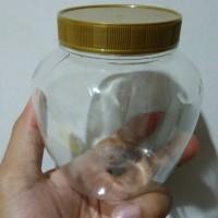 Wadah toples jar botol plastik kue kering lebaran bulat apel 450ml