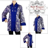 Baju Wanita Batik Kerja Motif Kalimantan Biru