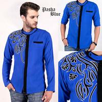 [Pasha Blue AK] baju koko pria rayon bangkok biru