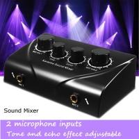 Karaoke Echo Tune Vol Mixer Dual MIC Input Sound Amplifier Microphone