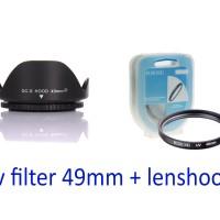 lens hood + uv filter 49mm for lensa canon 50mm STM & SONY